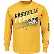 Majestic Men's Nashville Predators Rising Logo Gold Long Sleeve Shirt