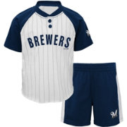 Majestic Toddler Milwaukee Brewers Good Hit Shorts & Top Set