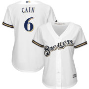 Majestic Women's Replica Milwaukee Brewers Lorenzo Cain #6 Cool Base Home White Jersey