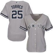 Majestic Women's Replica New York Yankees Gleyber Torres #25 Cool Base Road Grey Jersey