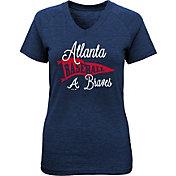 Majestic Youth Girls' Atlanta Braves Banner V-Neck T-Shirt