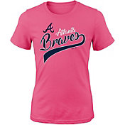Majestic Youth Girls' Atlanta Braves Tail Sweep Pink T-Shirt