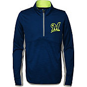 Majestic Youth Milwaukee Brewers Excellence Quarter-Zip Fleece