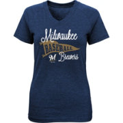 Majestic Youth Girls' Milwaukee Brewers Banner V-Neck T-Shirt