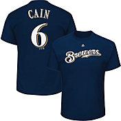 Majestic Youth Milwaukee Brewers Lorenzo Cain #6 Navy T-Shirt