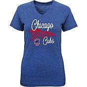 Majestic Youth Girls' Chicago Cubs Banner V-Neck T-Shirt