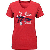 Majestic Youth Girls' St. Louis Cardinals Banner V-Neck T-Shirt