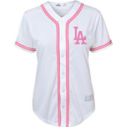 Majestic Youth Girls' Los Angeles Dodgers White/Pink Fashion Jersey