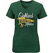 Majestic Youth Girls' Oakland Athletics Banner V-Neck T-Shirt