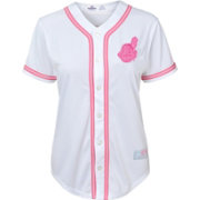 Majestic Youth Girls' Cleveland Indians White/Pink Fashion Jersey