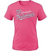 Majestic Youth Girls' Washington Nationals Tail Sweep Pink T-Shirt