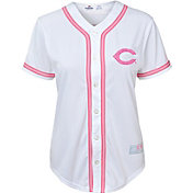 Majestic Youth Girls' Cincinnati Reds White/Pink Fashion Jersey