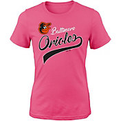 Majestic Youth Girls' Baltimore Orioles Tail Sweep Pink T-Shirt