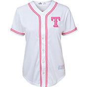 Majestic Youth Girls' Texas Rangers White/Pink Fashion Jersey