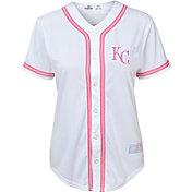 Majestic Youth Girls' Kansas City Royals White/Pink Fashion Jersey