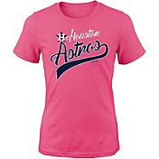 Majestic Youth Girls' Houston Astros Tail Sweep Pink T-Shirt