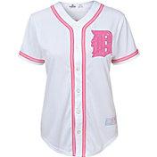 Majestic Youth Girls' Detroit Tigers White/Pink Fashion Jersey