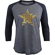 Majestic Threads Men's Houston Astros Championship Gold Raglan Three-Quarter Shirt
