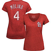 Majestic Threads Women's St. Louis Cardinals Yadier Molina Red V-Neck T-Shirt
