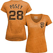 Majestic Threads Women's San Francisco Giants Buster Posey Orange V-Neck T-Shirt