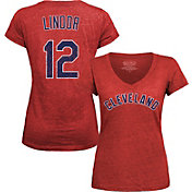 Majestic Threads Women's Cleveland Indians Francisco Lindor Red V-Neck T-Shirt