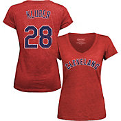 Majestic Threads Women's Cleveland Indians Corey Kluber Red V-Neck T-Shirt