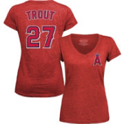Majestic Threads Women's Los Angeles Angels Mike Trout Red V-Neck T-Shirt