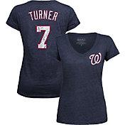Majestic Threads Women's Washington Nationals Trea Turner Navy V-Neck T-Shirt