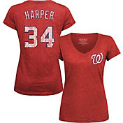 Majestic Threads Women's Washington Nationals Bryce Harper Red V-Neck T-Shirt