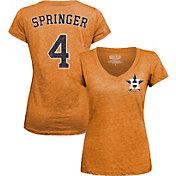 Majestic Threads Women's Houston Astros George Springer Orange V-Neck T-Shirt