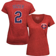 Majestic Threads Women's Minnesota Twins Brian Dozier Red V-Neck T-Shirt