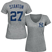 Majestic Threads Women's New York Yankees Giancarlo Stanton Grey V-Neck T-Shirt