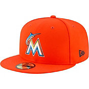 New Era Men's Miami Marlins 59Fifty Road Orange Authentic Hat