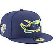 New Era Men's Tampa Bay Ray 59Fifty Game Navy Authentic Hat w/ 20th Anniversary Patch