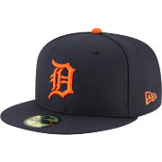 New Era Men's Detroit Tigers 59Fifty Road Navy Authentic Hat