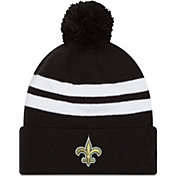 New Era Men's New Orleans Saints Stripe Cuff Black Pom Knit