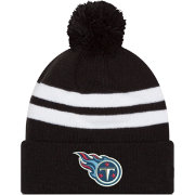 New Era Men's Tennessee Titans Stripe Cuff Black Pom Knit