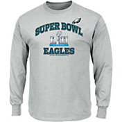 NFL Men's Super Bowl LII Bound Philadelphia Eagles Heart and Soul Grey Long Sleeve Shirt