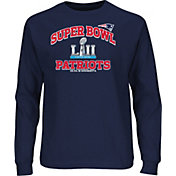 NFL Youth Super Bowl LII Bound New England Patriots Heart and Soul Navy Long Sleeve Shirt