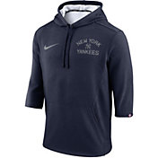 Nike Men's New York Yankees Three-Quarter Sleeve Hooded Fleece Pullover