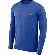 Jordan Men's Florida Gators Blue Football Dri-FIT Coach Long Sleeve T-Shirt