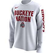 Nike Men's Ohio State Buckeyes 'Buckeye Nation' Bench Legend Long Sleeve White T-Shirt