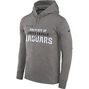 Nike Men's Jacksonville Jaguars Sideline 'Property Of' Therma-FIT Grey Logo Hoodie
