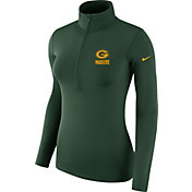 Nike Women's Green Bay Packers Pro Hyperwarm Green Half-Zip Pullover