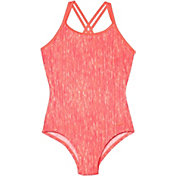 Nike Girl's Rush Heather Spider Back Swimsuit