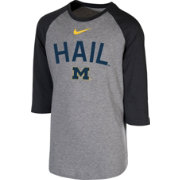 Nike Youth Michigan Wolverines Grey 3/4 Sleeve  Raglan T-Shirt
