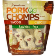 "Pork Chomps Premium 4"" Crunchy Bones Assorted Flavors Dog Treats"