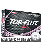 Top Flite Women's D2+ Diva Pearlescent Personalized Golf Balls – 15 Pack