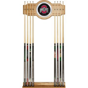 Trademark Global Ohio State Buckeyes Black Cue Rack with Mirror