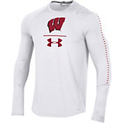 Under Armour Men's Wisconsin Badgers Training Long Sleeve Performance White T-Shirt